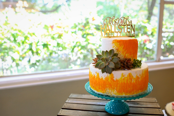 Crushing on this couple's bright and gorgeous wedding cake!