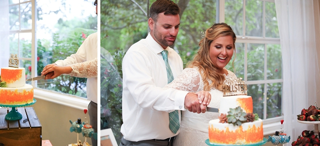 Cutting the cake as Mr. and Mrs. for the first time!