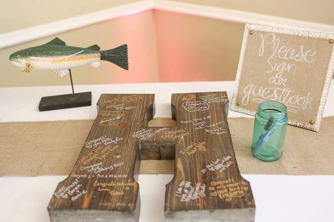 Love this couple's rustic and DIY guest book initial!