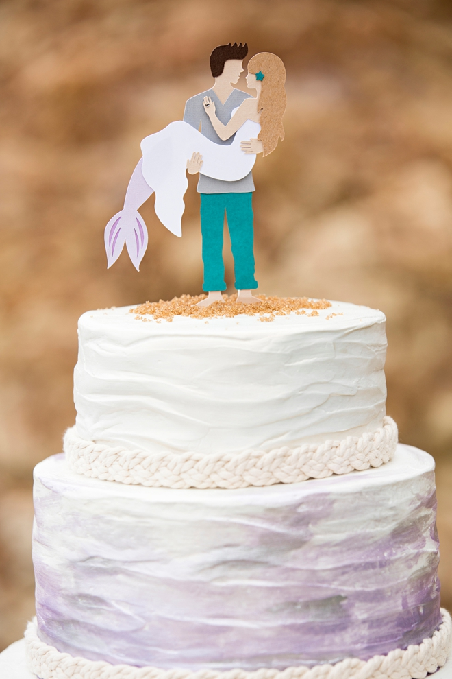 This is the most darling DIY mermaid and man cake topper I've ever seen!