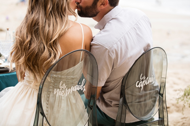 You have to see these AMAZING mermaid and captain wedding chair signs!