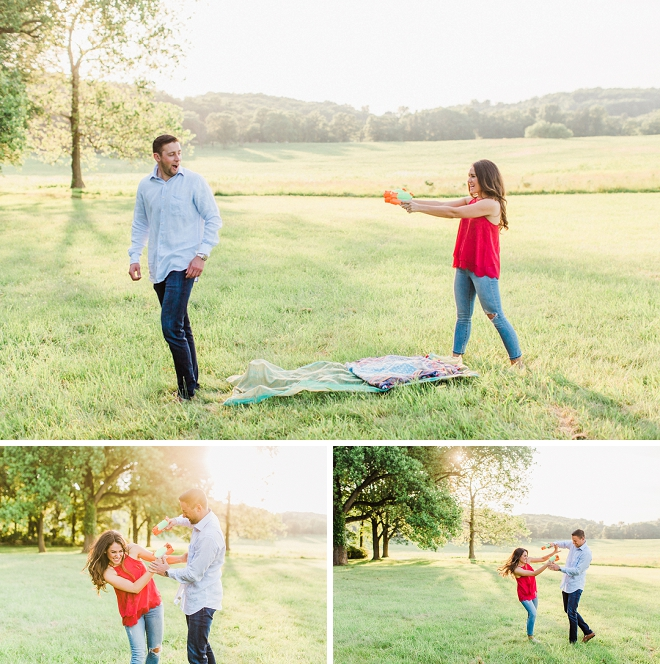 A watergun fight and an engagement session?! LOVE!