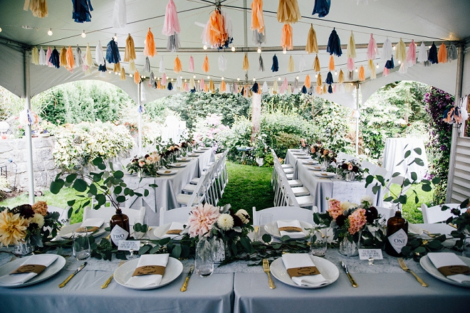We're swooning over this stunning backyard wedding and tablescape!