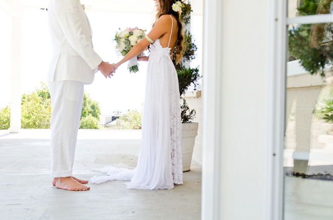 We're swooning over this boho couple's darling first look. So sweet!