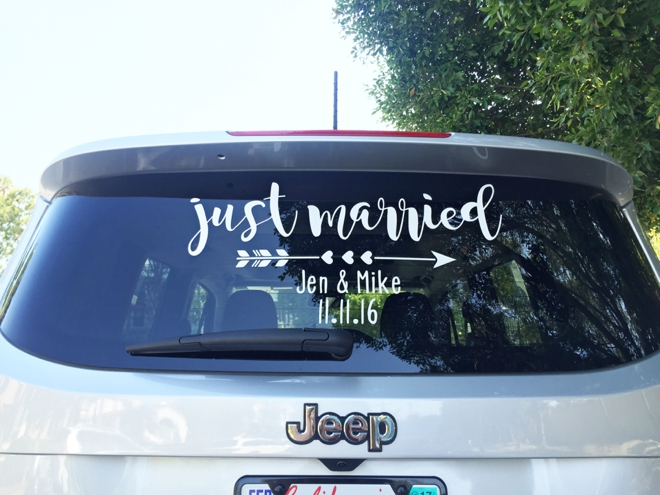 make your own just married car window cling sign