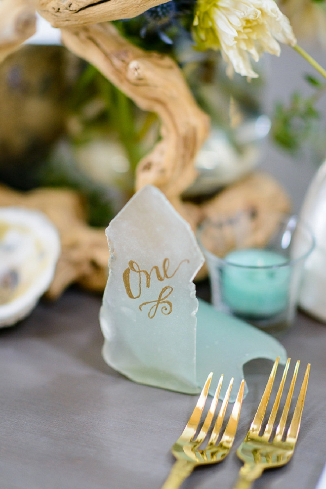 How gorgeous are these DIY sea glass table numbers?! LOVE!