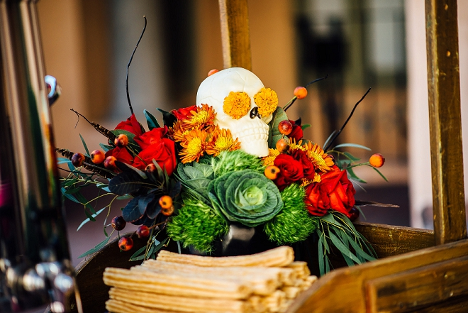 How darling is this churro bar cart at this stunning Day of the Dead styled wedding? Love!