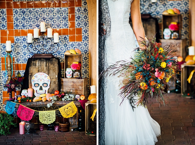 We are in LOVE with this stunning styled Day of the Dead wedding shoot and stunning bouquet!