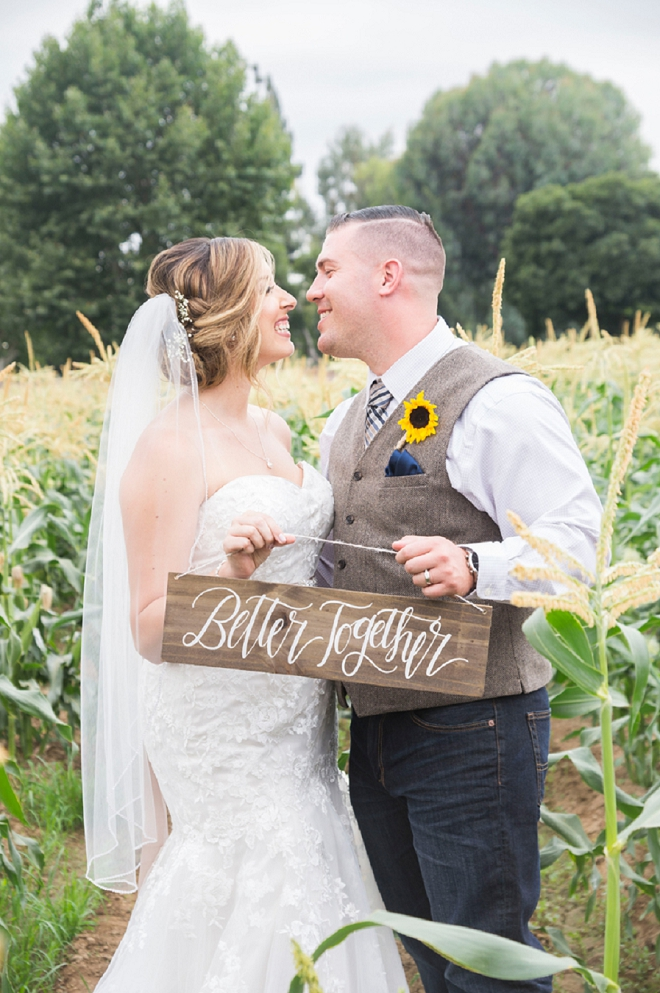 We're in LOVE with this rustic wedding and super sweet Mr. and Mrs!