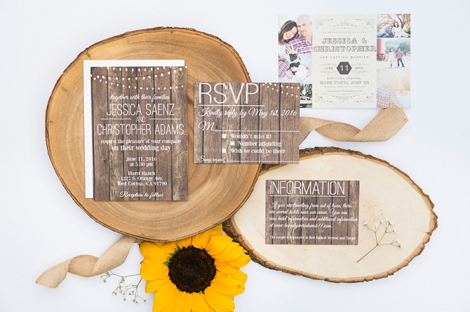 We love this stunning rustic invite suite perfect for this couple's rustic wedding!