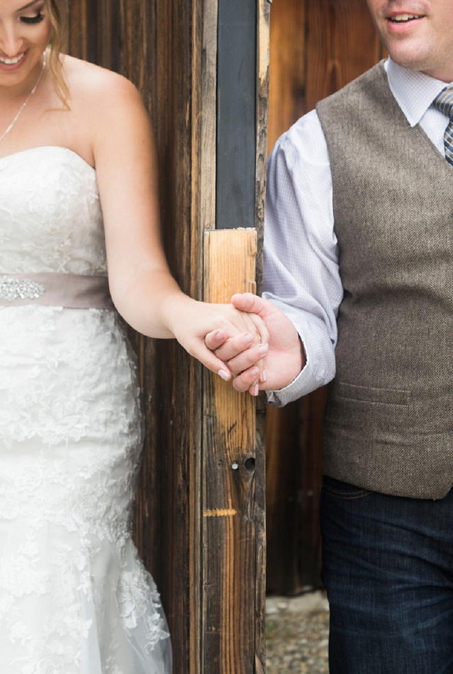 We're crushing on this Bride and Groom's first touch before the ceremony! So sweet!