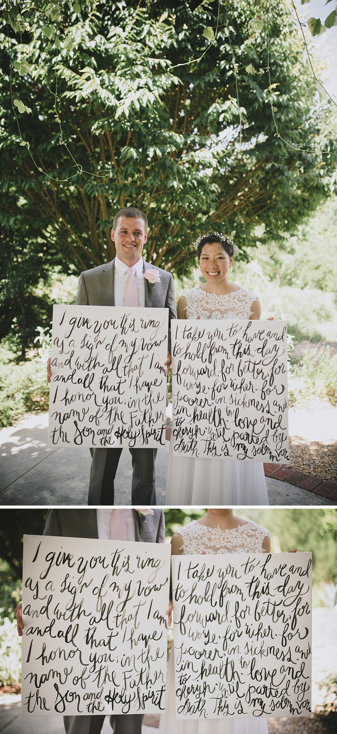 We are in LOVE with this crafty Bride's handlettered ceremony vow canvases!