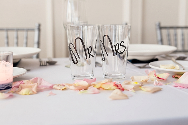 How darling are these Mr. and Mrs. glasses for the reception?! LOVE!