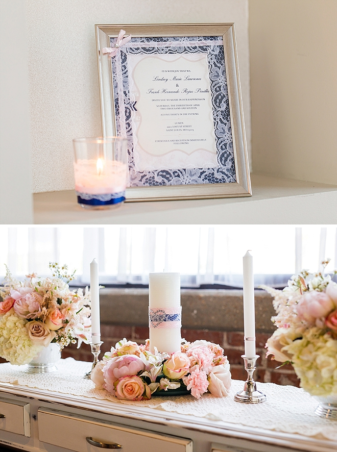 We are in LOVE with this handmade ceremony alter made by the Bride!