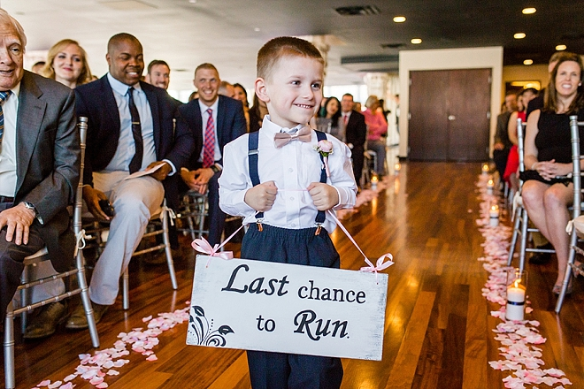 How cute is this ring bearer's last chance to run ceremony sign?! So cute!
