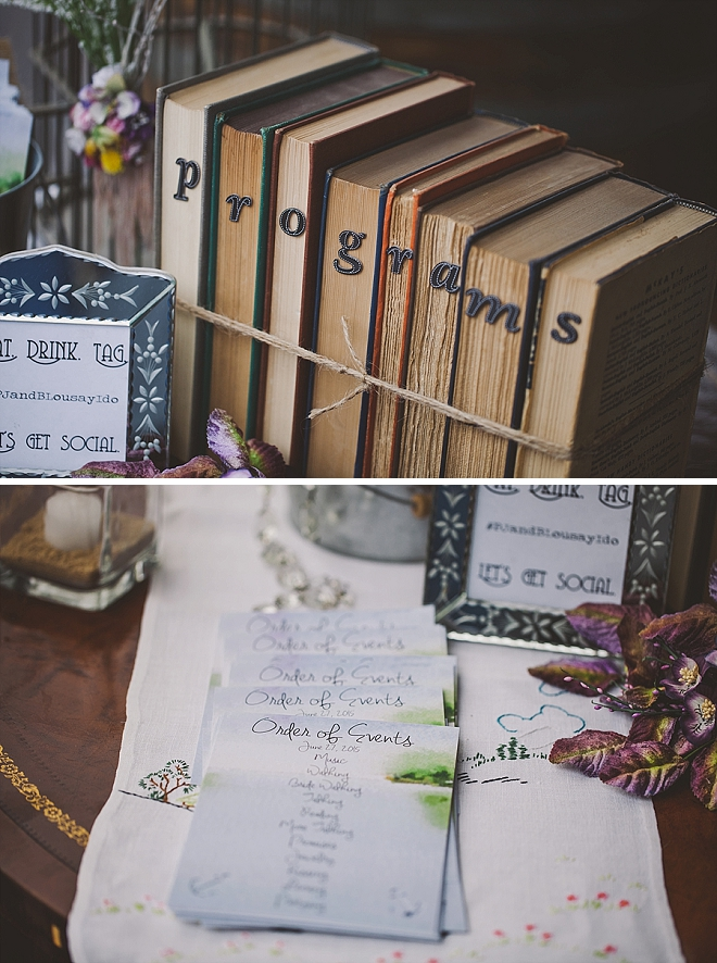 How darling are these handmade ceremony programs and sign?! LOVE!