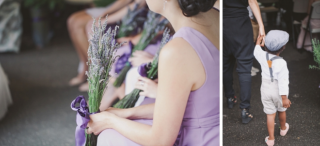 We love these Bridesmaid's and their lavender bouquets!
