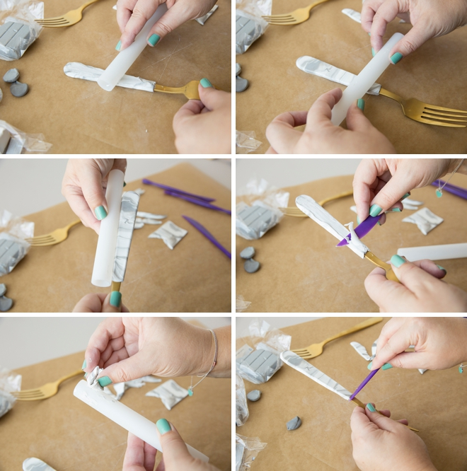 Learn how to make these adorable wedding cake forks using oven-bake clay!