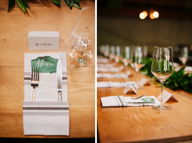 How gorgeous is this reception table with greenery, DIY menus and food truck?! We're in LOVE!