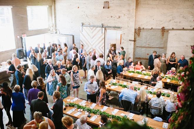 Such a fun industrial loft reception!