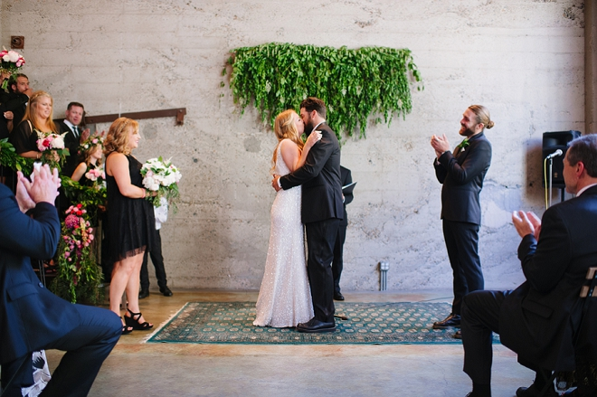 The first kiss as Mr. and Mrs! So sweet!