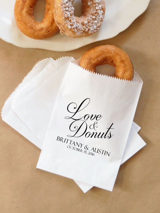 Love and Donuts, donut wedding favor bag from Nottingham Paper Goods!