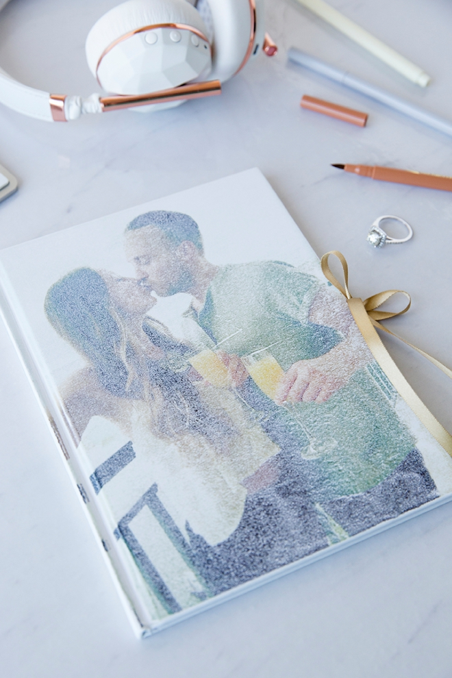 Transfer a photo onto the front of a blank journal for the cutest wedding keepsake!