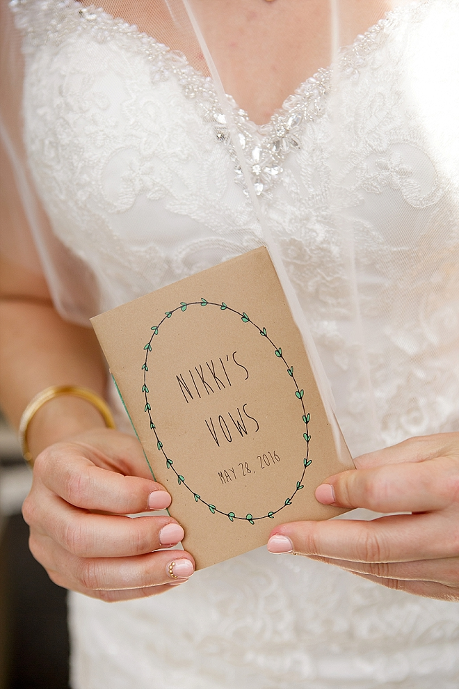 How cute is this Bride's vow book for her ceremony?! Sweet!