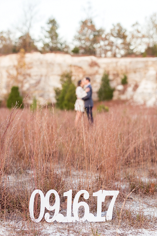 We're in love with this romantic engagement session and wedding date sign!