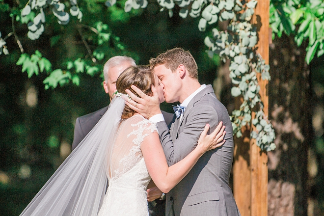 The sweet first kiss as Mr. and Mrs!