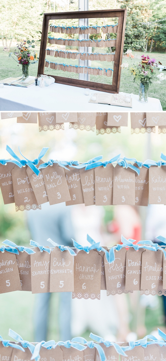 How darling are these escort cards that the bride handlettered herself?! LOVE!