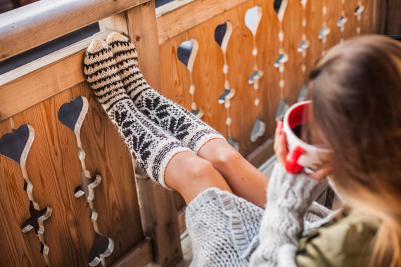 We love these wintery knee socks perfect for lounging!
