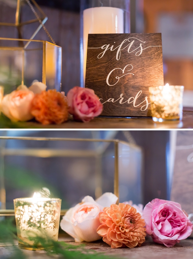 We're loving this couple's wooden calligraphy signs at their reception!