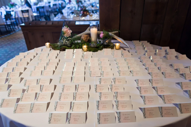 Escort cards delicately placed at this couple's lodge reception!