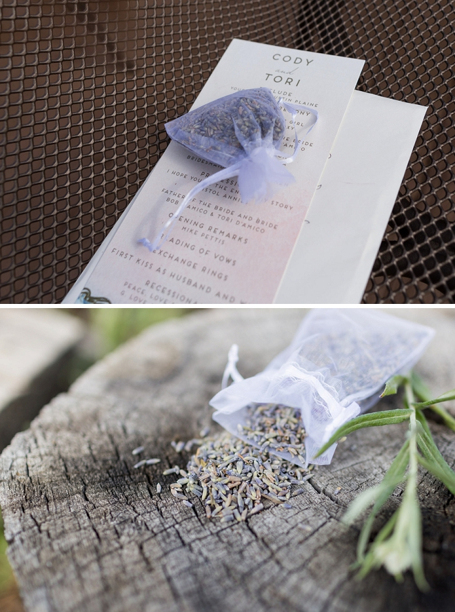 We love this Mr. and Mrs. ceremony programs and lavender toss!