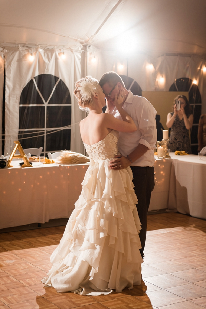 Sweet snap of this couple's first dance as Mr. and Mrs!