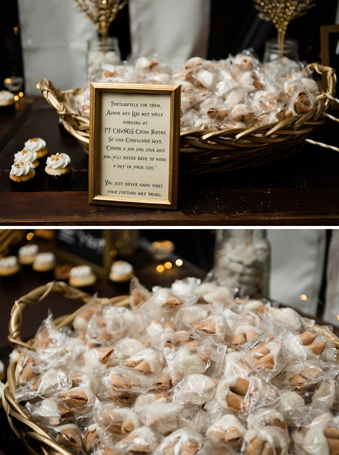 How cute are these fortune cookies a nod to the couple meeting years earlier!