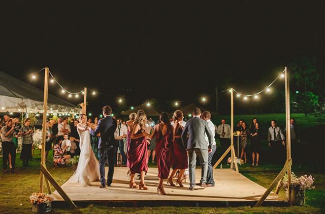 15 fabulous unique wedding dance floor ideas for Outdoor dance floor ideas