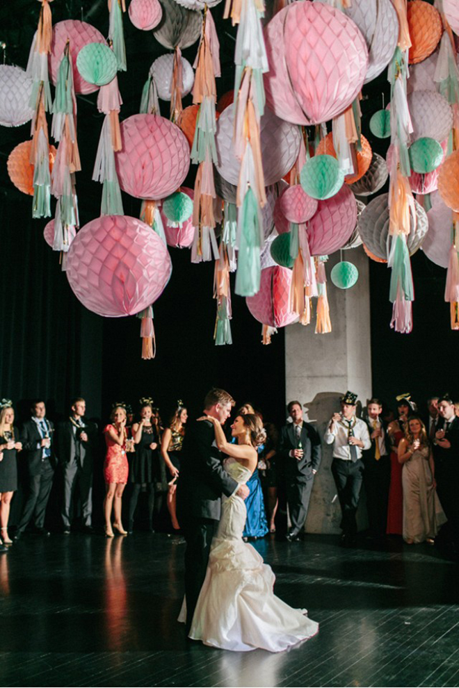 Tassels and honeycombs make for fab dance floor decor!