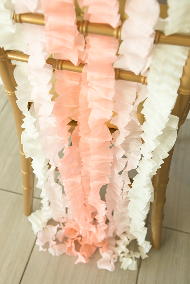 Learn how easily you can make this chic wedding chair decor out of just crepe paper!