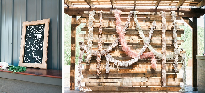 Sweet photo booth at this boho chic wedding!