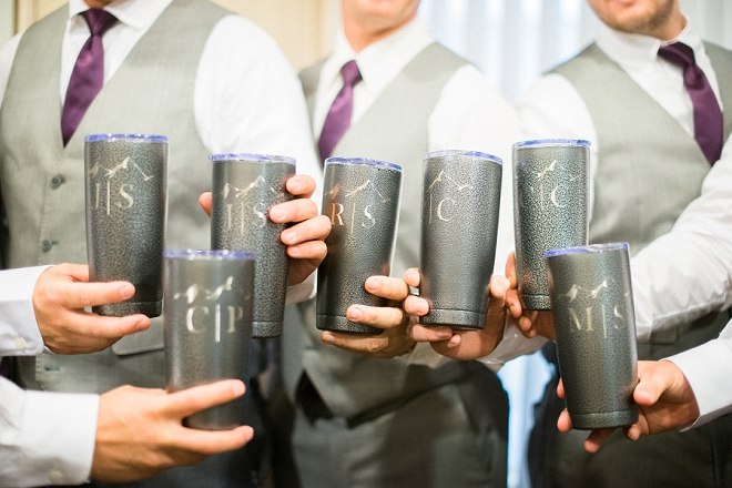 The couple DIY'd these awesome Groomsmen tumblers!