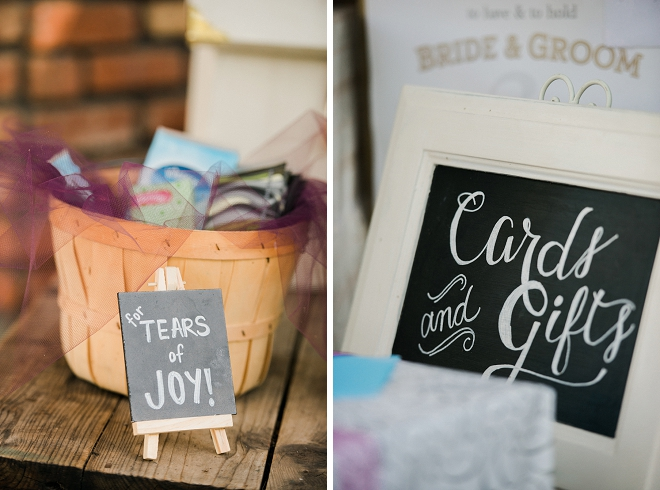 We love all of this couple's handmade wedding signs at their outdoor wedding!