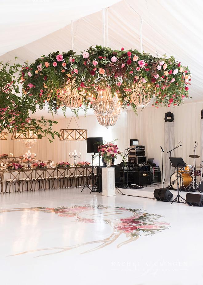 A floral wonderland above the dance floor.