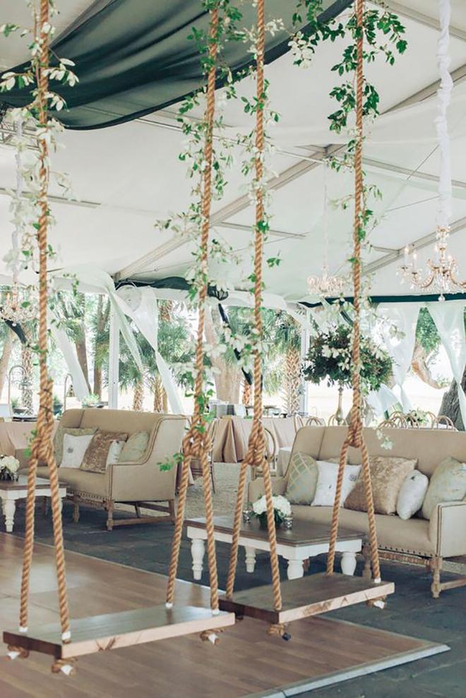 A swing next to the dance floor is genius!