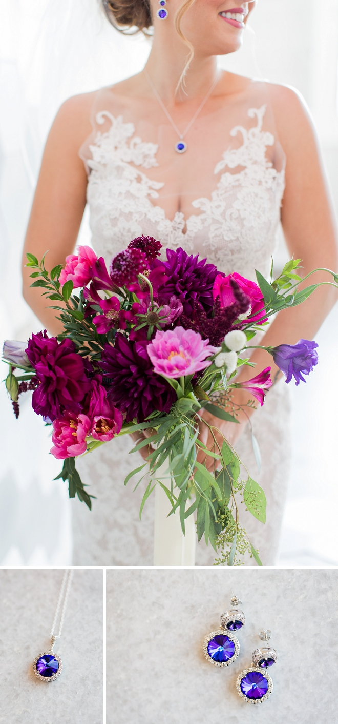 We can't get over this Bride's amazing maroon bouquet and sapphire earrings!