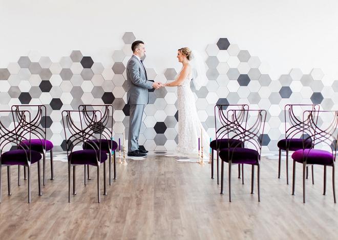 Stunning modern wall at this styled loft wedding!