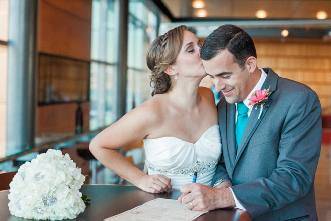 We can't love this snap of the Bride and Groom signing their marriage certificate!