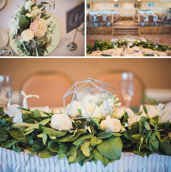 We love the geometric details and florals at this stunning wedding!