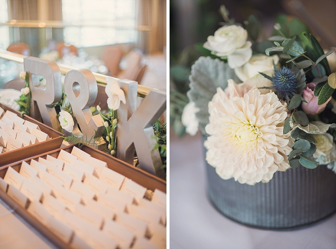 We love this couple's monogrammed escort card table!
